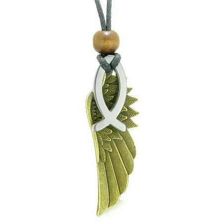 Jesus Fish Necklace (Guardian Angel Wing Protection Magic Powers Amulet Jesus Fish Simulated Hematite Pendant)