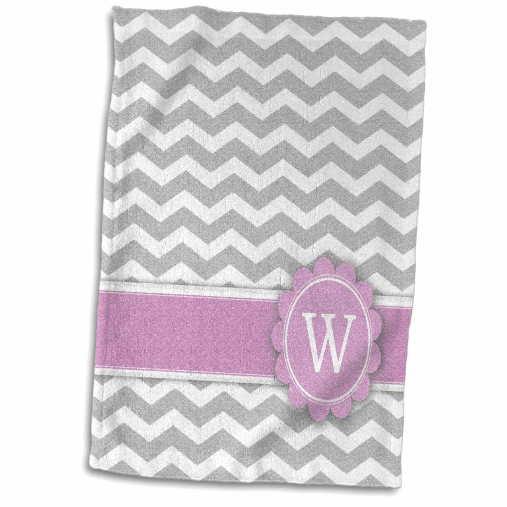 3dRose Letter W monogrammed on grey and white chevron with pink - gray zigzags - personal initial zig zags - Towel, 15 by 22-inch