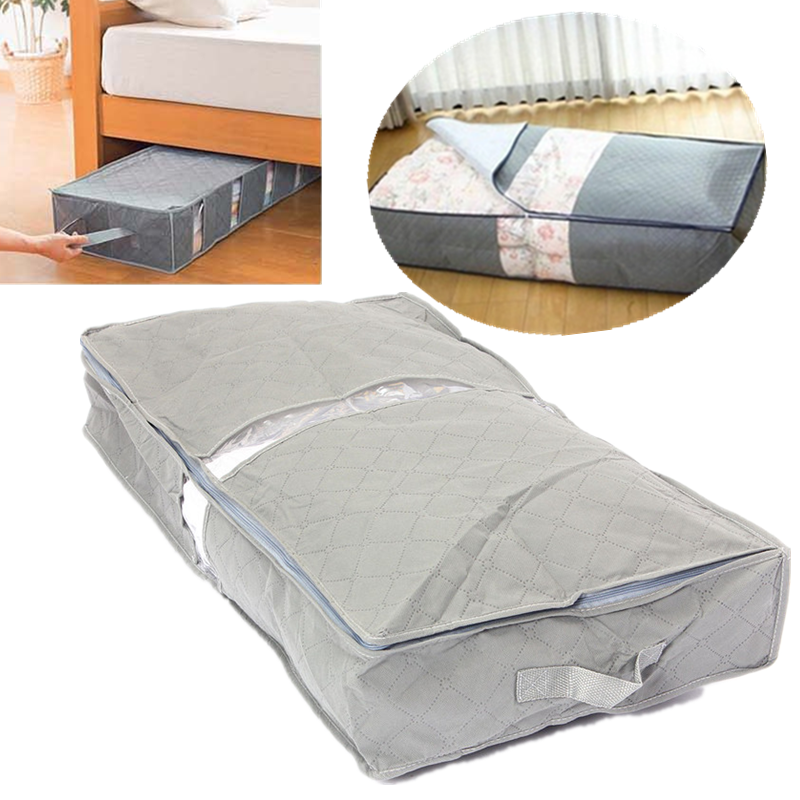 portable under-bed organizer under the bed storage bag box gray for clothes blankets item