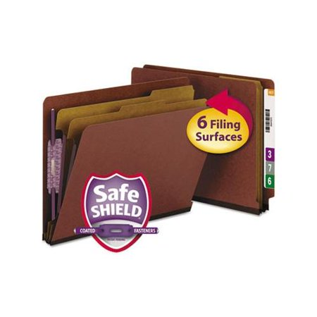 Recycled End Tab Classification Folders - Smead 26860 Red End Tab Pressboard Classification Folders with SafeSHIELD Fas...