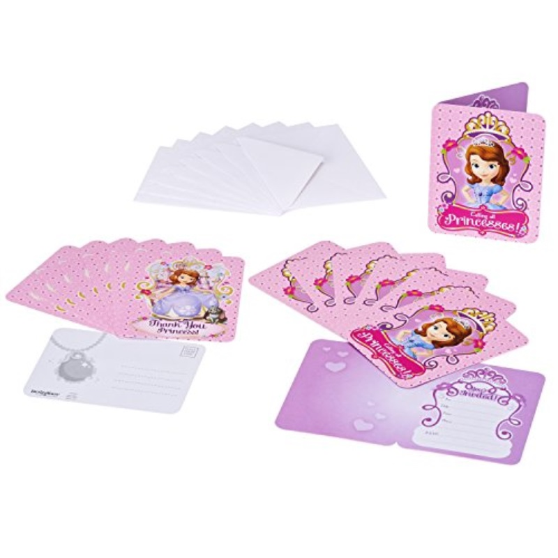 Sofia the First Invite and Thank You Combo, 8 Pack, Party Supplies