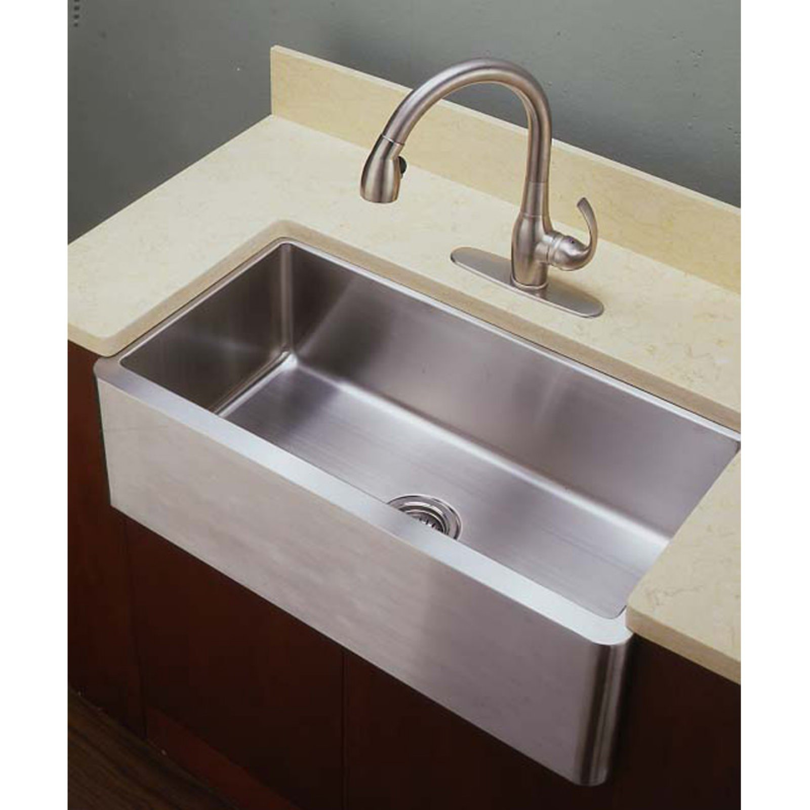 World Imports Empire Industries LF33 Single Bowl Farmhouse Stainless Steel Kitchen Sink