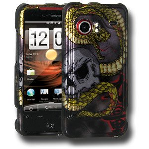 HTC Case, Slim Protective Hard Snap On Cover for HTC DROID Incredible PB31200 - Snake & Skull ()