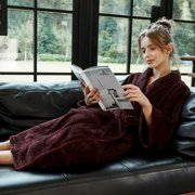 Women Bathrobe Premium Fleece Wrap Kimono Loungewear Full Length With Pockets