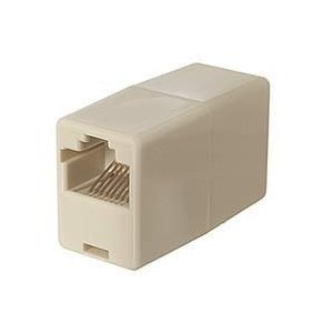 CAT5E RJ45 8-pin Modular Inline Coupler Straight-Through (Ivory) F-F Straight