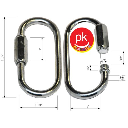 Playkids Swing Set 2 (1 Pair) Quick Link Spring Clip, Snap Hook, Swing Set Hardware Porch Parachute Clip Play Set Jungle Gym Ny-glide Connector Playground in Backyard