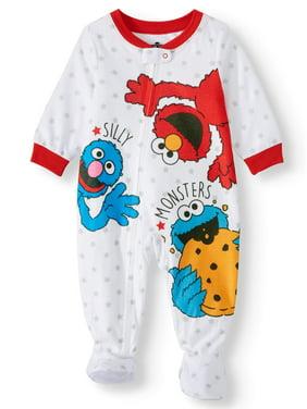Sesame Street Baby Boy Microfleece Blanket Sleeper Pajamas