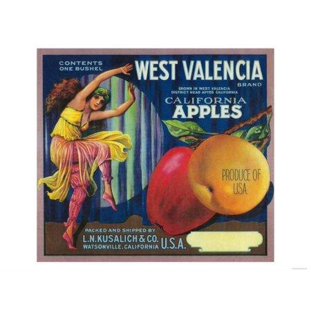 West Valencia Apple Crate Label - Watsonville, CA Print Wall Art By Lantern Press