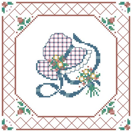 - Herrschners® Bonnet and Lace Quilt Blocks Stamped Cross-Stitch