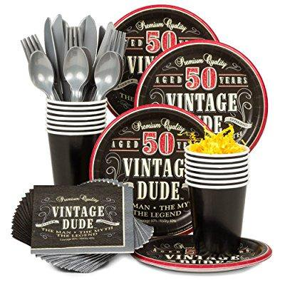 costume supercenter bbkit696 vintage dude 50th birthday party standard tableware kit