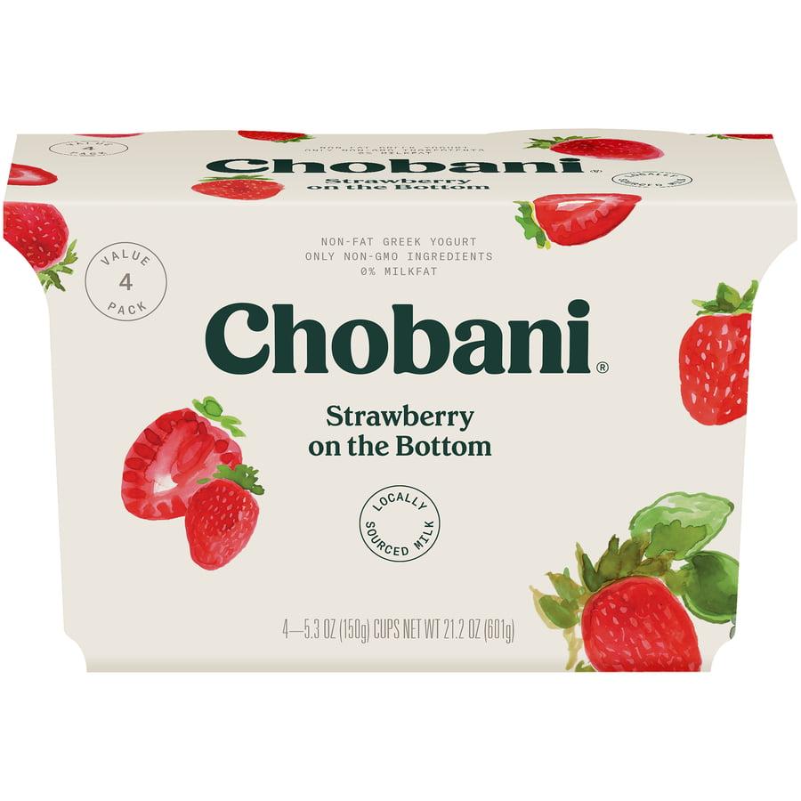 Chobani, Strawberry Fruit on the Bottom Non-Fat Greek Yogurt, 5.3 Ounce Cups, 4 Cup Pack