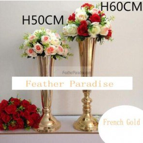 Polished Metal Trumpet Vases Wedding Centerpieces Vases French Gold-20 inches ()