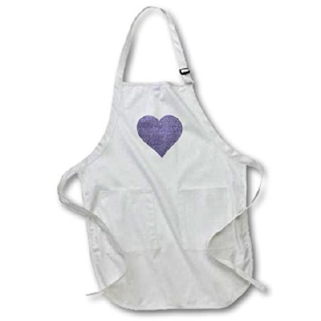 3dRose Denim-look Heart - heart made of blue jean graphic - not actual denim, Medium Length Apron, 22 by 24-inch, With Pouch Pockets