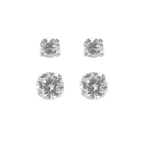 CZ Sterling Silver Basket-Set Round Stud Earrings Set, 3mm-4mm, 2 Pairs