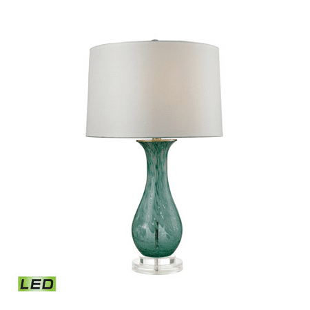 Table Lamps 1 Light With Aqua Swirl Glass and Acrylic Medium Base 27 inch 9.5 Watts