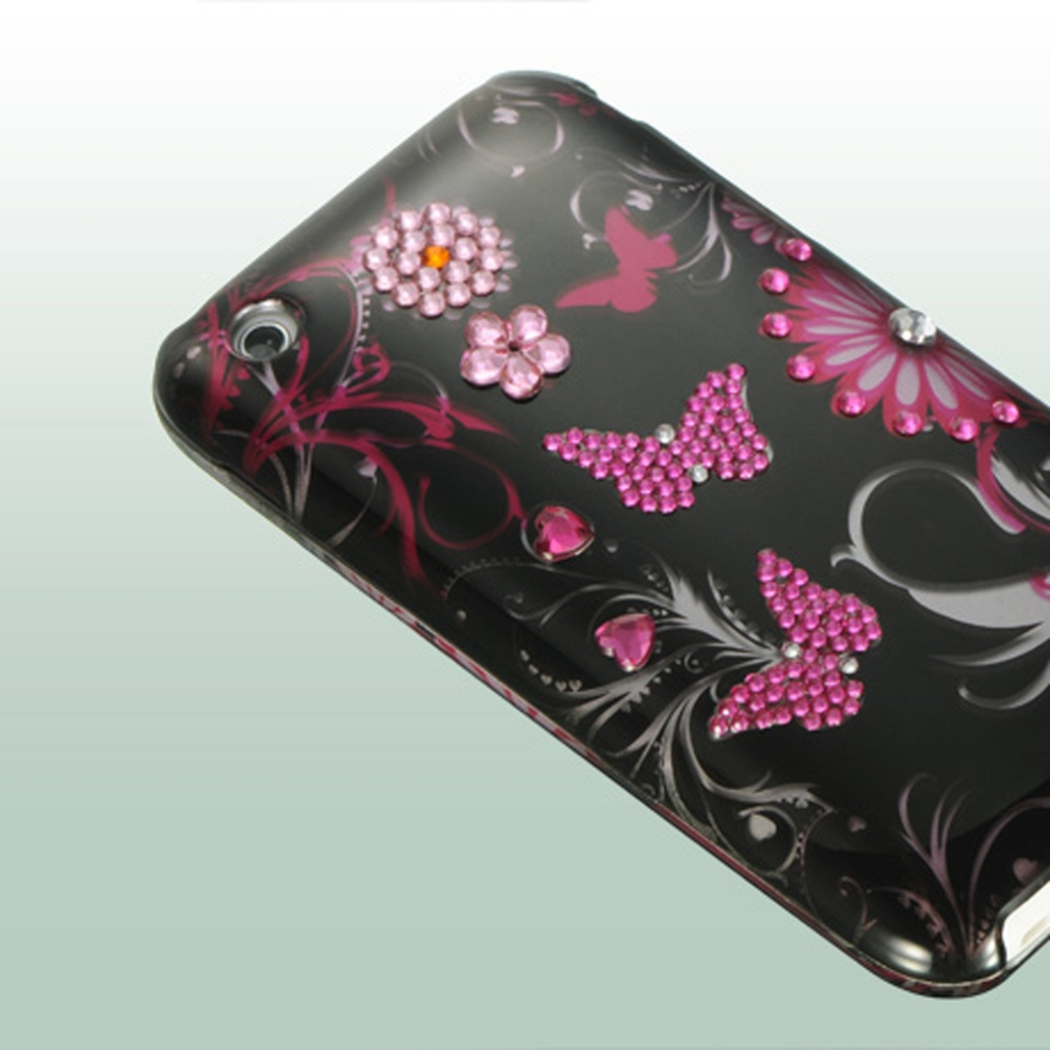 Insten Spot Diamond Bling Hard Back Cover Case For Apple iPhone 3G / 3GS - Pink Butterfly
