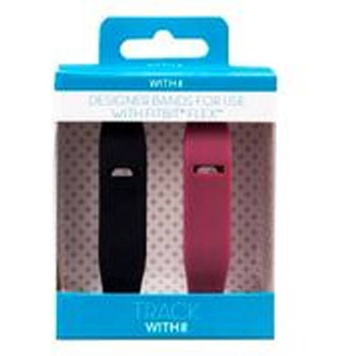 Refurbished Fitbit 8131937 Flex Replacement Band for Women, 2-Pack, Black and Rose