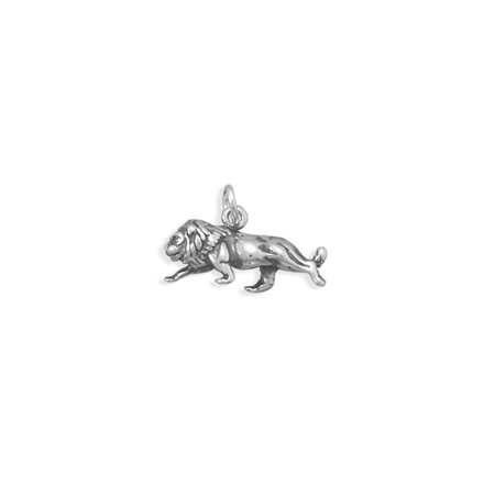 Lion Charm Antiqued Sterling Silver