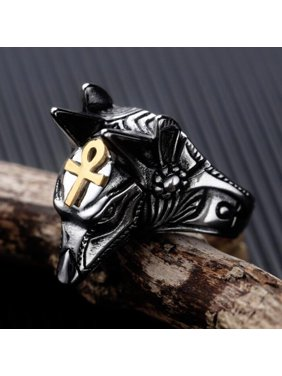 Men Stylish Fashion Cool Wolf Head Shape Delicate Rings Gold No. 7