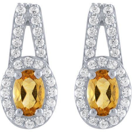 Citrine and CZ Earring, Pendant and Ring, 3-Piece Set