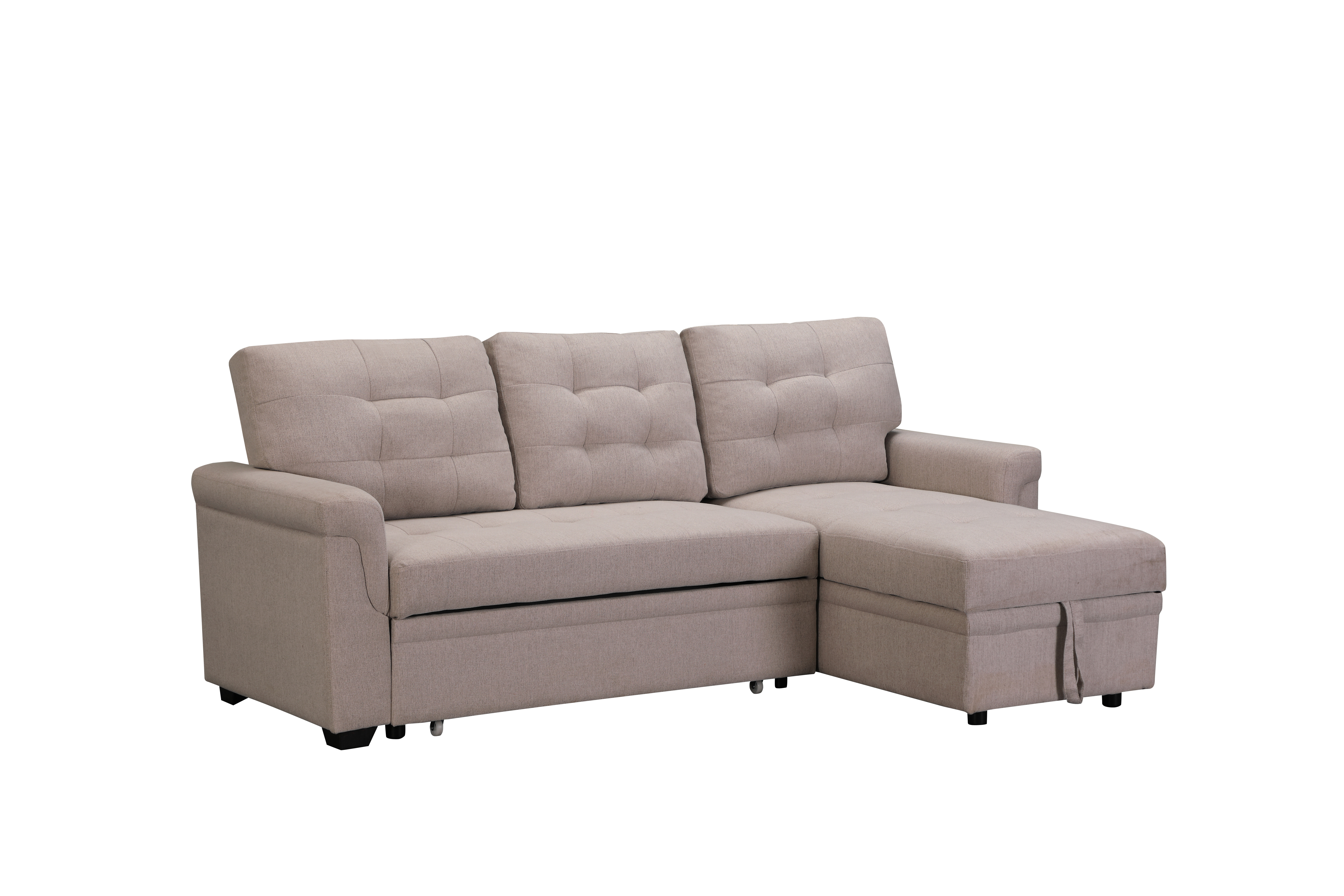 Tufted Sectional Sofa Bed With Fold-Out Twin Size Sleeper And Storage Chaise, 33