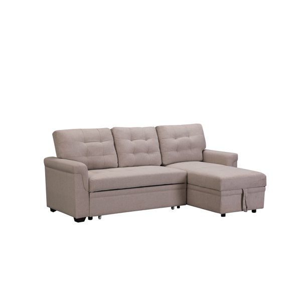 Tufted Sectional Sofa Bed With Fold Out, Beige Sofa Bed With Storage