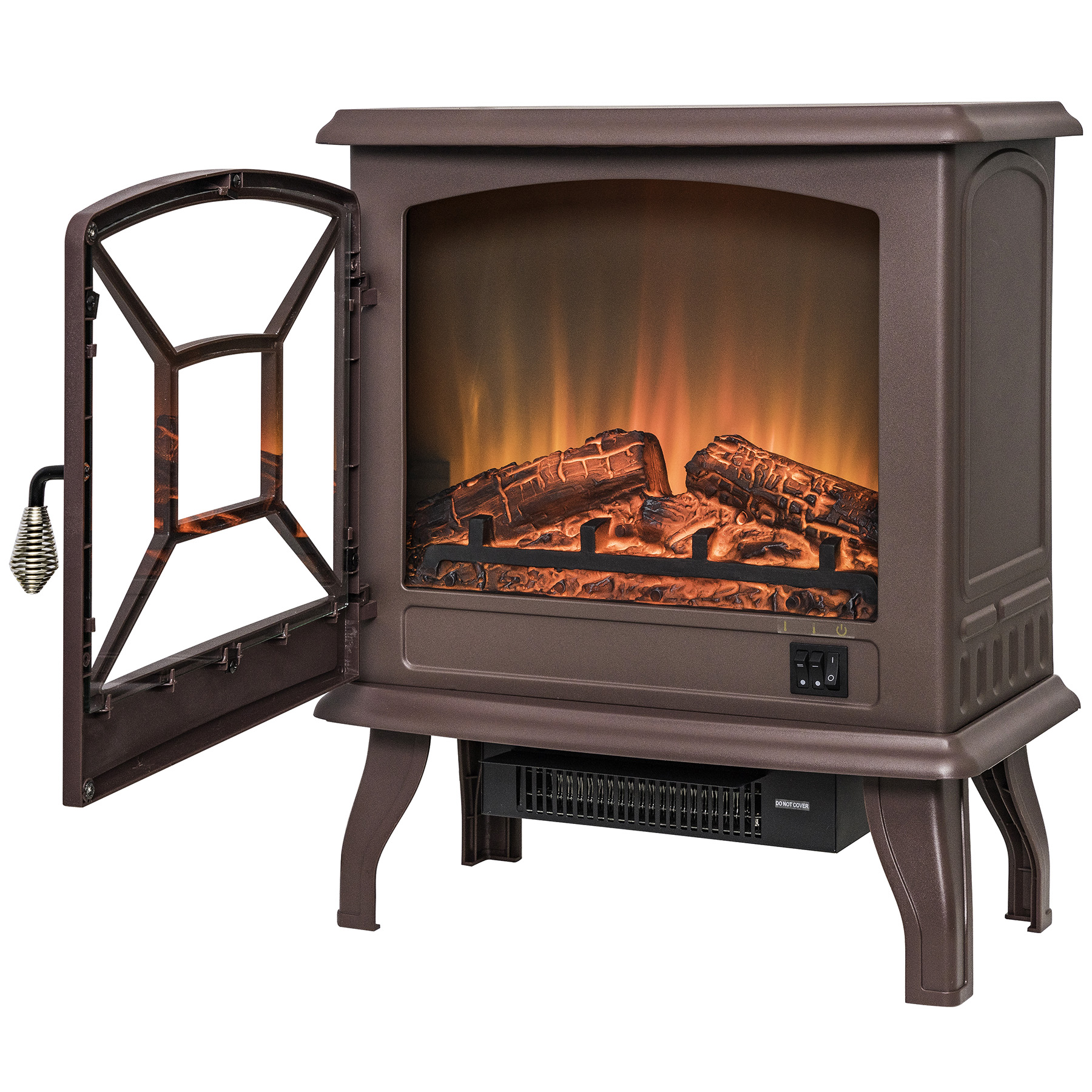 Akdy Fp0082 20 Brown Freestanding Portable Electric Fireplace