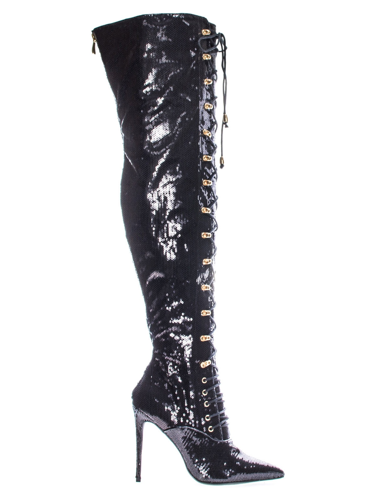 Ecstasy by Liliana, Black Glitter Military Combat Corset Lace Up Mesh Glitter Over The Knee, High Heel Dress Boot