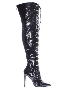 07bc788102 Product Image Ecstasy by Liliana, Black Glitter Military Combat Corset Lace  Up Mesh Glitter Over The Knee