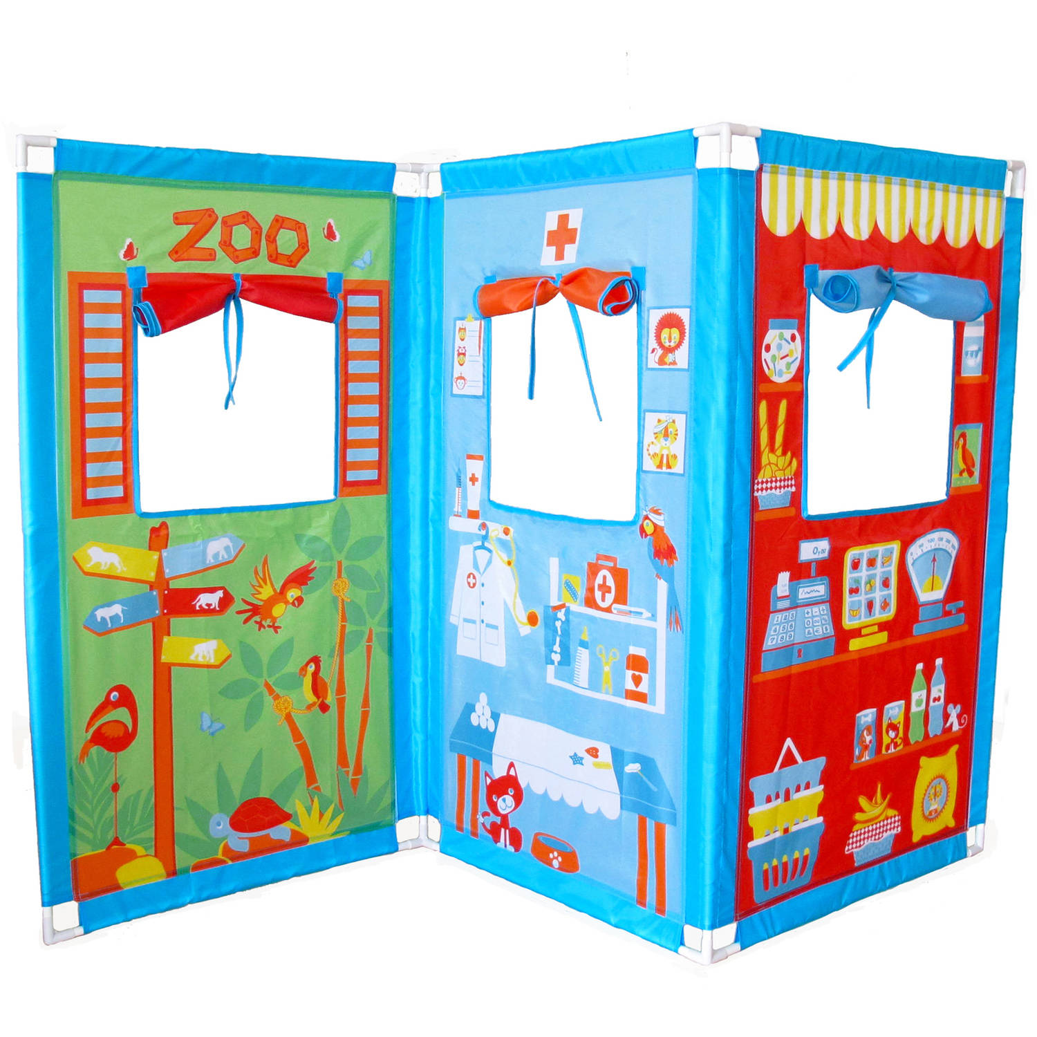 Fun2Give Pop-it-up Zig Zag Puppet Theatre with 4 Hand Puppets by Fun2Give