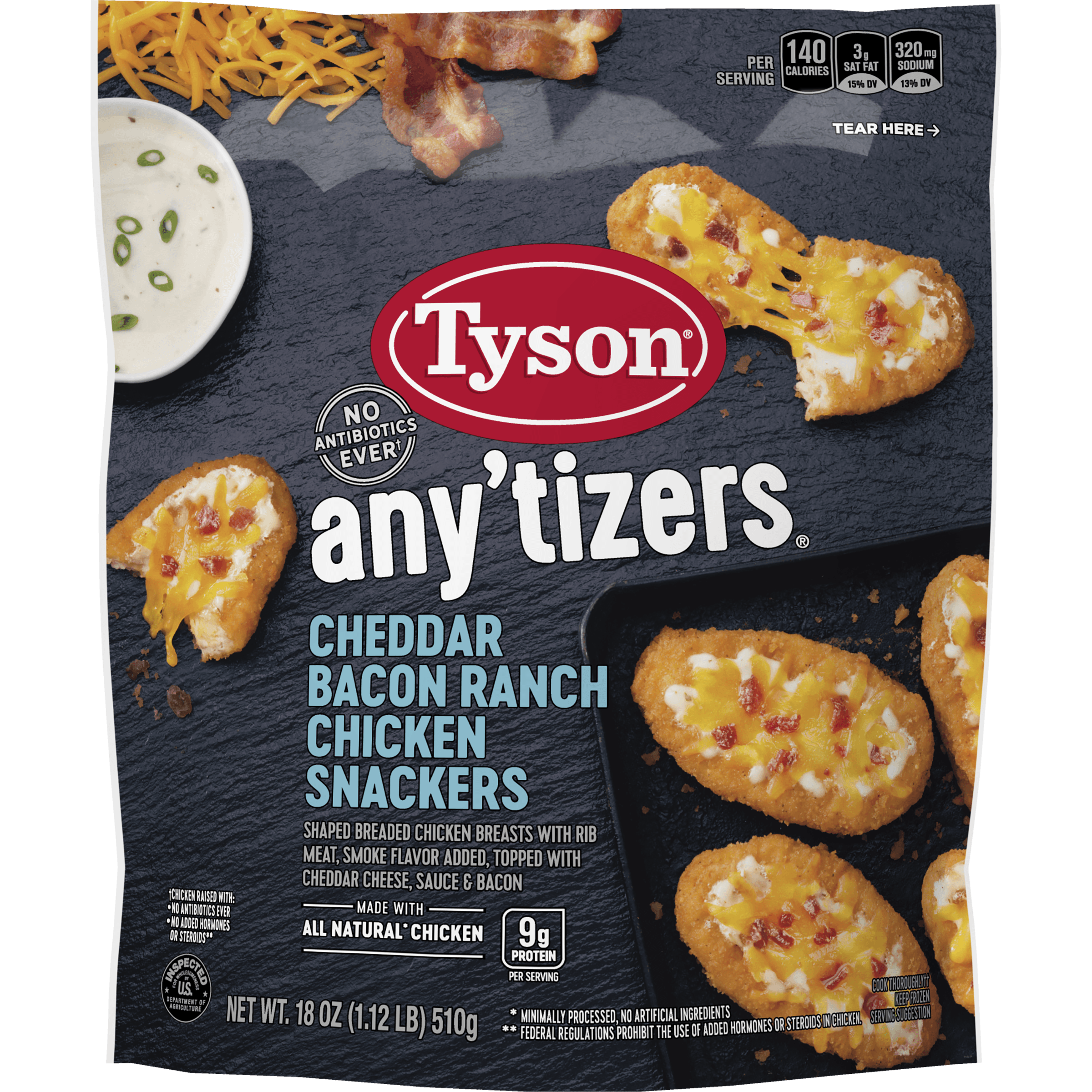 Tyson® Any'tizers® Cheddar Bacon Ranch Chicken Snackers, 18 oz.