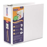 "Stride Quick Fit D-Ring View Binder, 4"" Capacity, White"