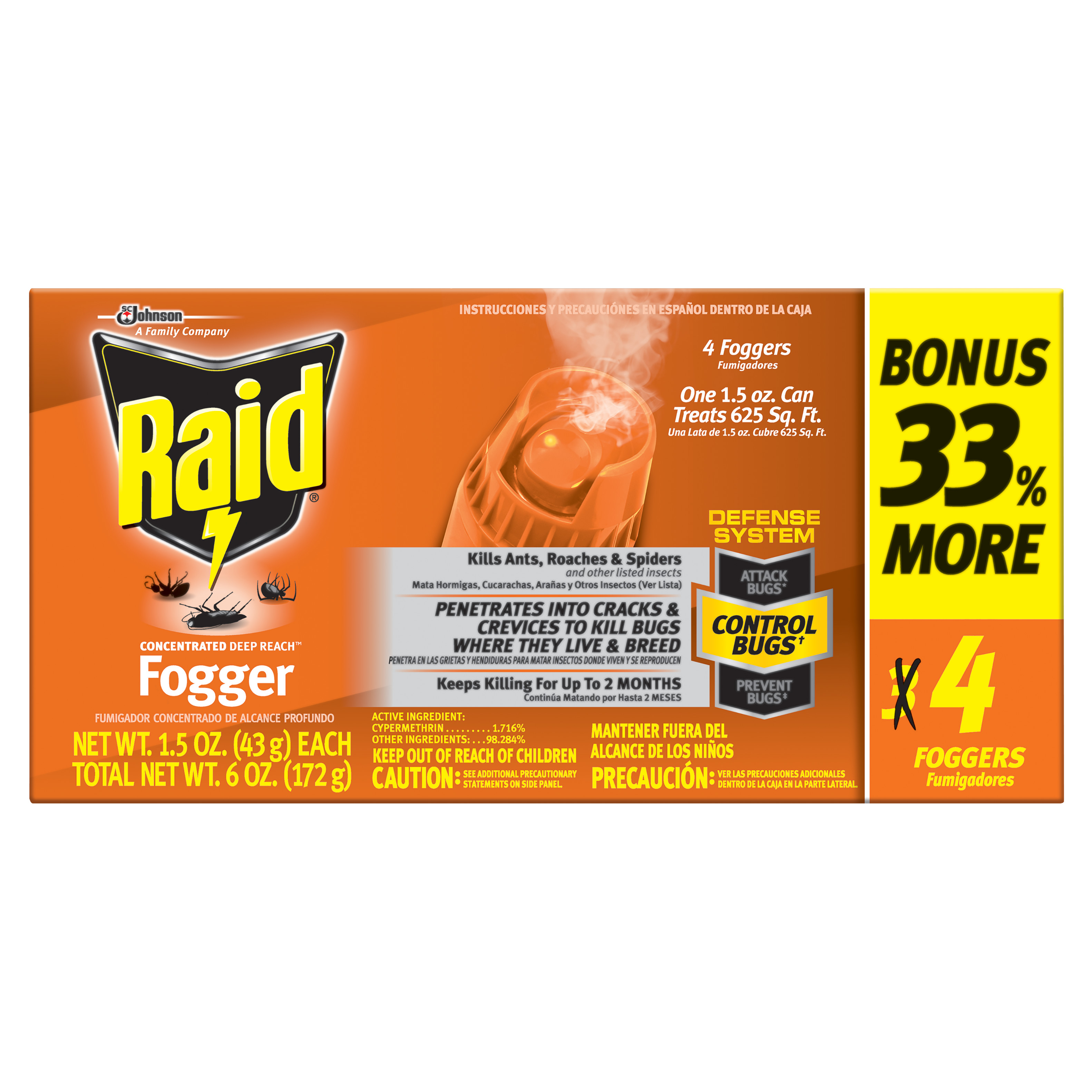 Raid Concentrated Deep Reach Fogger (1.5 Ounces, 4 count)