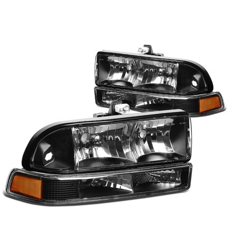Reflector Brown Housing - For 98-04 Chevy S10/Blazer GMT 325/330 Replacement Headlight Assembly Kit (Black Housing Amber Reflector) 99 00 01 02 03