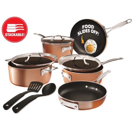 Gotham Steel Stackable Pots and Pans Set – Stackmaster 10 Piece Cookware Set with Ultra Nonstick Cast Texture Coating, Includes Skillets, Sauce Pans, Stock Pots, Dishwasher Safe