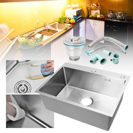 304 Stainless Steel Top - 304 Stainless Steel Handmade Top Mount Drop-in Single Bowl Basin Sink Kitchen Laundry Bathroom Home 23.62''