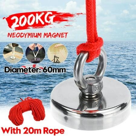 Magnet Round Eyebolt Ring 200KG D60mm Super Strong Treasure Finder Salvage Fishing Hook Lifting Recovery Treasure Metal Detector Neodymium Magnetic Hanger 304 Steel+ 20M Rope