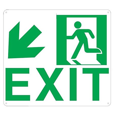 - Exit Arrow Left Down sign (Glow In the dark sign - Photoluminescent ,High Intensity, ALUMINIUM 9x10 ,Rust Free )