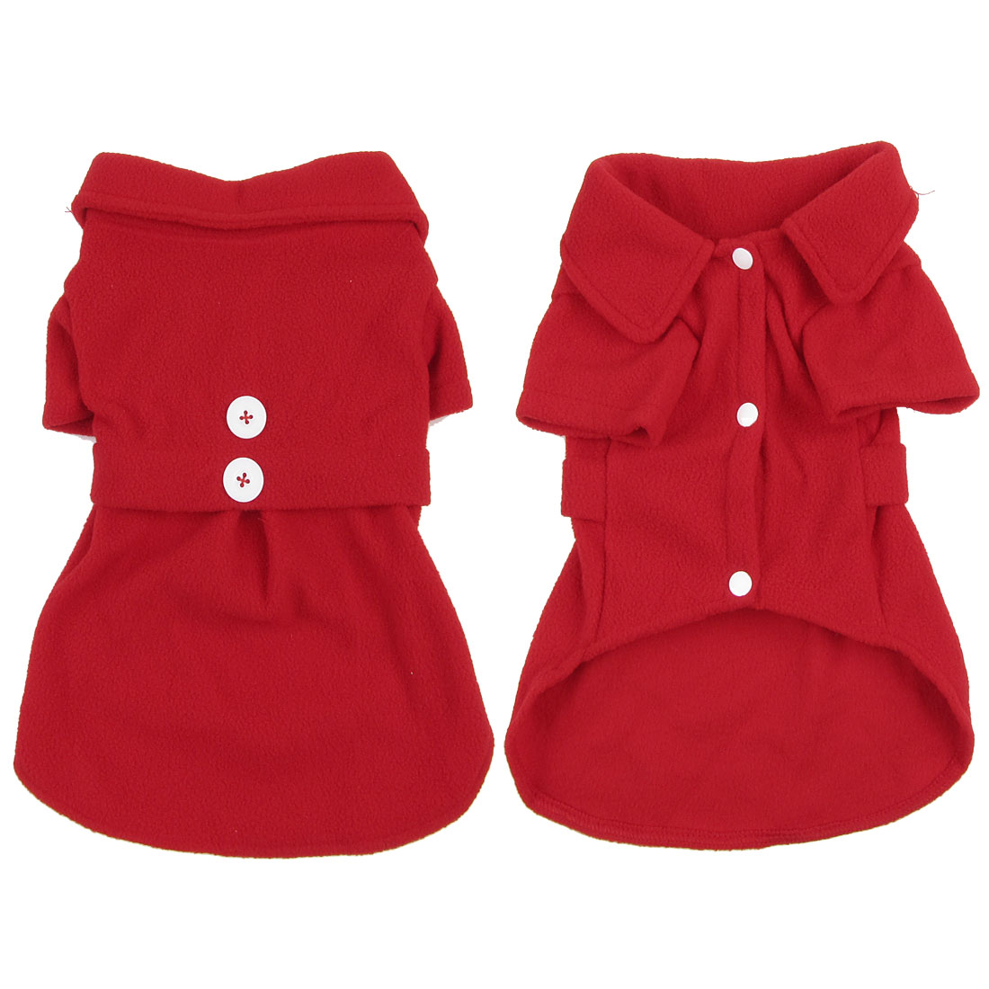 Unique Bargains Short Sleeves Single Breasted Doggy Poodle Coat Winter Clothes Red M