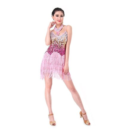ec518b682 Ladies Latin Dance Dress, CoastaCloud Women Ballroom Salsa Samba Rumba  Tango Rhythm Sexy Tassel Sequins Latin Dance Dress Black