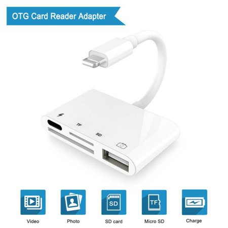 4 in 1 for Lightning to Camera Connection Kits SD/TF/USB OTG Card Reader Adapter Cable For iPhone 7/8/X iPod iPad ()