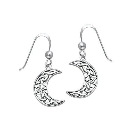 Silver Celtic Moon Earrings (Sterling Silver Celtic Crescent Moon and Star Dangle Earrings)