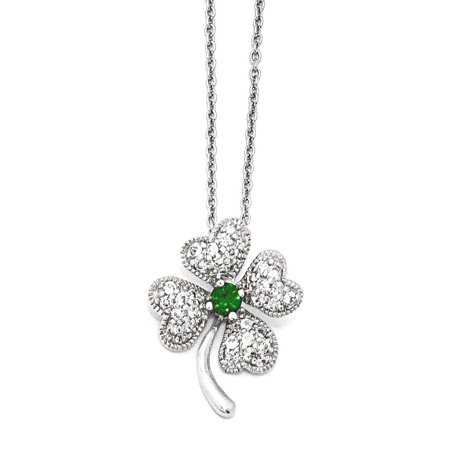 925 Sterling Silver Rhod Plated Gla925 Simulatedemerald Cubic Zirconia Cz 4 Leaf Clover 18 Inch Chain Necklace Pendant Charm Good Luck/italian Horn Gifts For Women For Her (4in Chain)