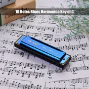 QI MEI 1020 Blues Harmonica Key of C 10 Holes 20 Tunes Diatonic Harp Mouthorgan with Cleaning Cloth and Storage Box Blue