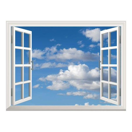 "wall26 Removable Wall Sticker/Wall Mural - Blue Sky with White Clouds | Creative Window View Home Decor/Wall Decor - 24""x32"""