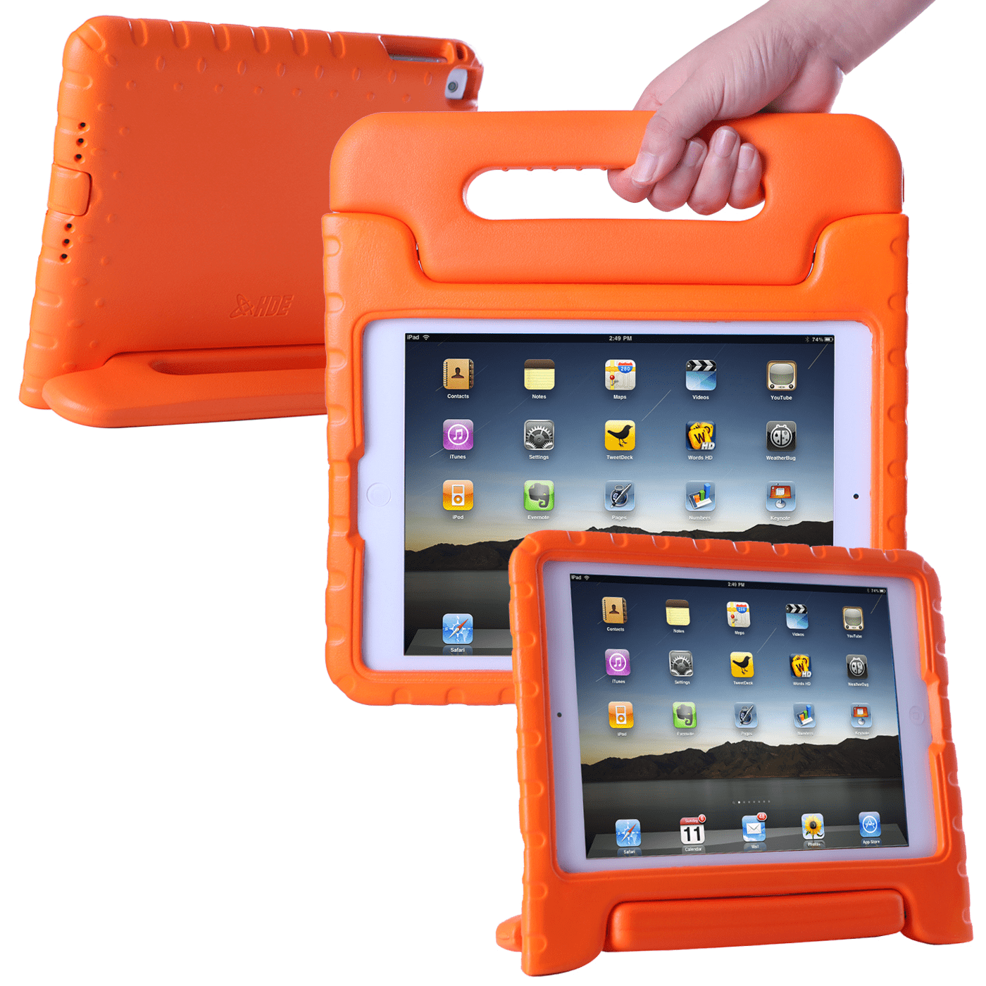 HDE 2017 iPad Case for Kids with Handle Stand Lightweight Shock Proof Cover for Apple iPad (7th Generation iPad, March 2017 Release, Orange)
