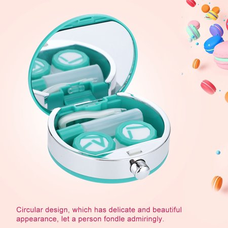 WALFRONT Mini Contact Lens Holder Eye Care Lenses Case Set Cute Lovely Travel Kit Box,Lens Box,Lenses (White Glow In The Dark Contact Lenses)