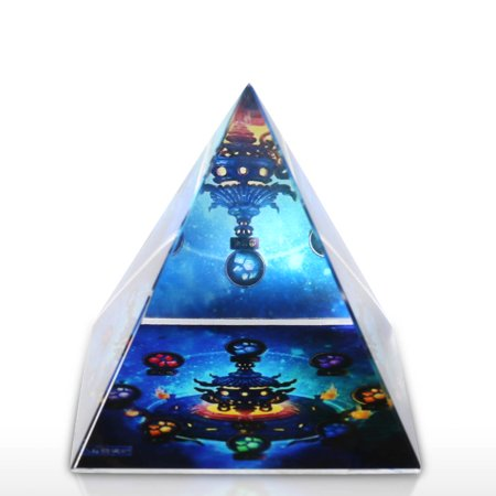 Starry Pagoda Sculpture Glass Art Ornament Abstract Hand Blown Glass Ornament Home Decor - image 3 de 7