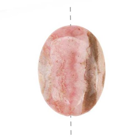 Medium Pink Rhodochrosite Oval Pendant Bead 22 x 30mm (Rhodochrosite Beads)