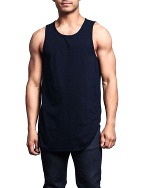 8fee0cb0bb42b7 Product Image G-Style USA Solid Color Long Length Curved Hem Tank Top TT47  - NAVY -